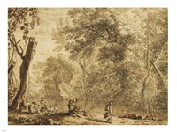 Woodland Landscape with Nymphs and Satyrs Fine Art Print