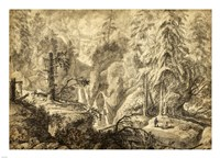 Mountain Landscape, Peasants in a Clearing near a Waterfall Fine Art Print