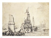 A Ship in a Port with a Ruined Obelisk Fine Art Print