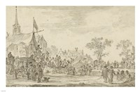 A Village Festival with Musicians Playing Outside a Tent Fine Art Print