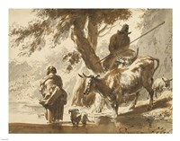 Cows Crossing a Ford with a Couple and a Dog Fine Art Print