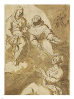 Saint Francis Interceding with the Virgin on Behalf of a Female Saint Fine Art Print