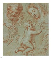 Studies of the Madonna and Child and of Heads Fine Art Print