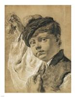 A Boy Holding a Pear Fine Art Print