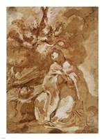 A Female Saint Contemplating a Crucifix Fine Art Print