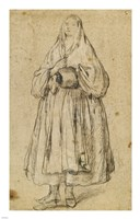 Standing Woman Holding a Muff and Shawl Fine Art Print