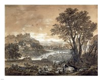 A Landscape with Shepherds Resting Under a Tree by a Cascade Fine Art Print