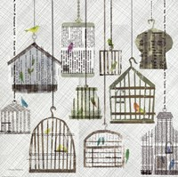 Birdcages Collage Square I Fine Art Print