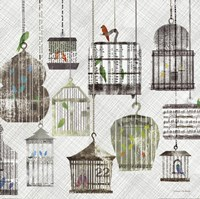 Birdcages Collage Square II Fine Art Print