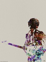 Hendrix with Guitar Watercolor Framed Print