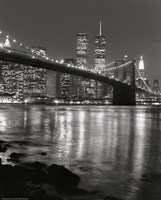 Brooklyn Bridge at Night Framed Print