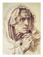 Study of the Head of an Old Woman Fine Art Print