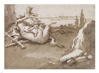 A Centaur and a Female Faun in a Landscape Fine Art Print