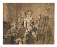 Three Young Artists in a Studio Fine Art Print