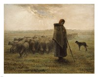 Shepherdess and Her Flock Fine Art Print