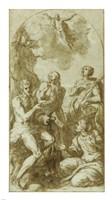 Christ the Savior above Saints John the Baptist, Jerome, Catherine, and Thomas Fine Art Print