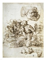 A Group of Shepherds, and Other Studies Fine Art Print