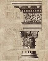 Architectural Rendering I Burlap Sepia Crop Framed Print