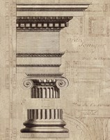 Architectural Rendering II Burlap Sepia Crop Framed Print