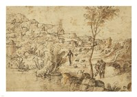 Landscape with Shepherds by a River and a Town Beyond Fine Art Print