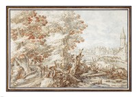 A Wooded Landscape with Travelers by a Stream, a Town Beyond Fine Art Print