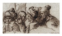 Bust of a Boy in a Turban, a Winged Angel, and Three Old Men Fine Art Print