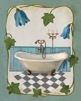 Bell Flower Bath I on Ivory Framed Print