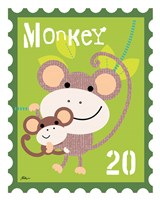 Animal Stamps - Monkey Framed Print