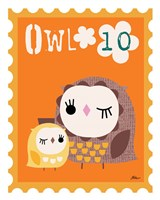 Animal Stamps - Owl Fine Art Print