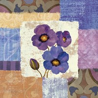 Tiled Poppies II - Purple Framed Print