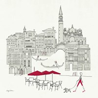 World Cafel IV - Venice Red Framed Print