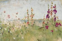 Hollyhocks by the Sea Fine Art Print