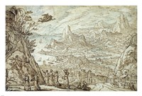An Extensive Estuary Landscape with the Story of Mercury and Herse Fine Art Print