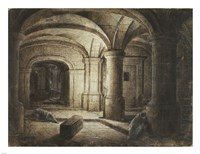 The Crypt of a Church with Two Men Sleeping Fine Art Print