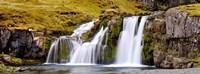 Waterfall, Kirkjufellsfoss Waterfall, Myrar, Snaefellsnes, Borgarfjordur, Iceland Fine Art Print
