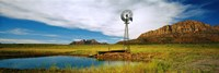 Solitary windmill near a pond, U.S. Route 89, Utah Fine Art Print