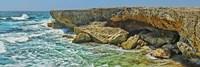 Rock formations at the coast, Aruba Fine Art Print