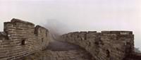 Fortified wall in fog, Great Wall of China, Mutianyu, Huairou County, China Fine Art Print
