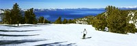 Tourist skiing in a ski resort, Heavenly Mountain Resort, Lake Tahoe, California-Nevada Border, USA Fine Art Print