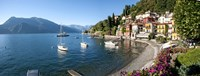 Early evening view of waterfront at Varenna, Lake Como, Lombardy, Italy Framed Print