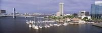 USA, Florida, Jacksonville, St. Johns River, High angle view of Marina Riverwalk Fine Art Print