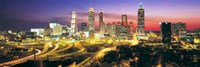 Skyline, Evening, Dusk, Illuminated, Atlanta, Georgia, USA, Framed Print