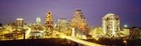 Buildings lit up at dusk, Austin, Texas, USA Fine Art Print