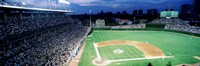 Cubs baseball game under flood lights, USA, Illinois, Chicago Fine Art Print