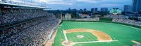 High angle view of spectators in a stadium, Wrigley Field, Chicago Cubs, Chicago, Illinois, USA Fine Art Print