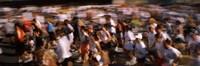 Crowd participating in a marathon race, Bay Bridge, San Francisco, San Francisco County, California, USA Fine Art Print