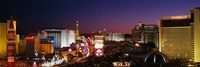 Buildings Lit Up At Night, Las Vegas, Nevada, USA (purple sky) Fine Art Print