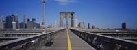 Bench on a bridge, Brooklyn Bridge, Manhattan, New York City, New York State, USA Fine Art Print