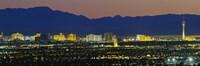 Aerial View Of Buildings Lit Up At Dusk, Las Vegas, Nevada, USA Fine Art Print