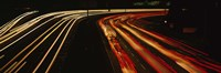 High angle view of traffic on a road at night, Oakland, California, USA Fine Art Print